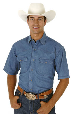 Roper Men's Denim Short Sleeve Western Shirt, Denim, hi-res