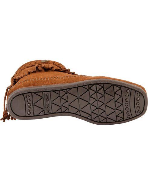 Minnetonka Back Zipper Ankle Moccasins, Brown, hi-res