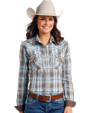 Rough Stock by Panhandle Women's Brown Cortland Plaid Shirt , Brown, hi-res
