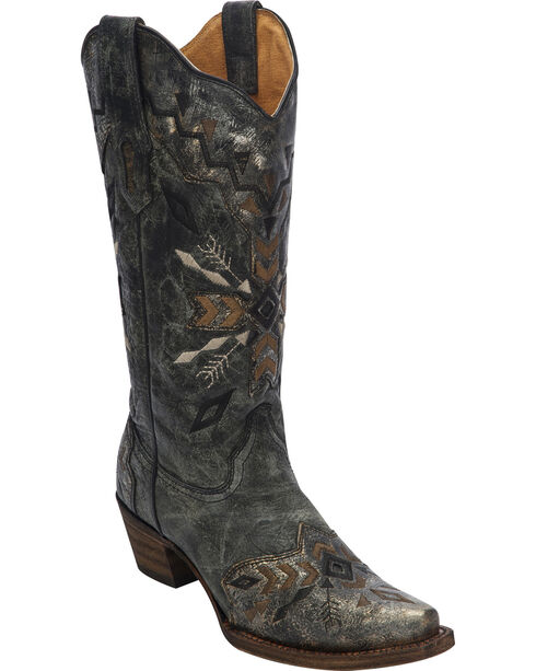 Corral Women's Tribal Embroidered Cowgirl Boots - Snip Toe, Black, hi-res