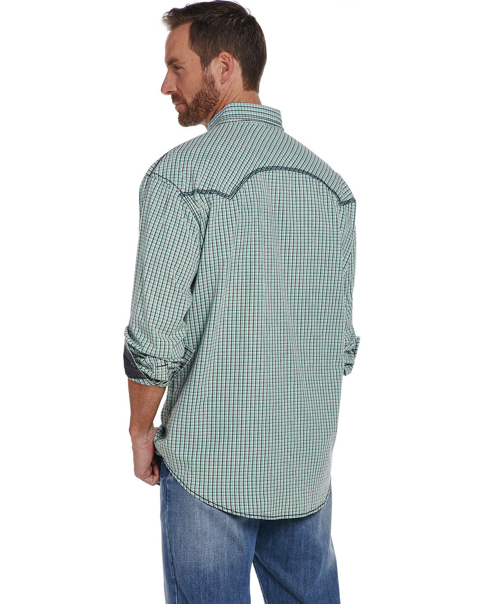 Cowboy Up Men's Vintage Wash Plaid Long Sleeve Western Shirt, Green, hi-res