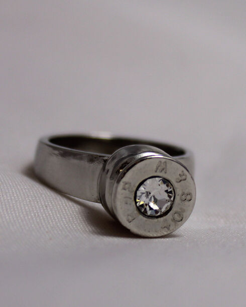 SouthLife Supply Women's Grace Bullet Ring in Traditional Silver with Crystal, Silver, hi-res