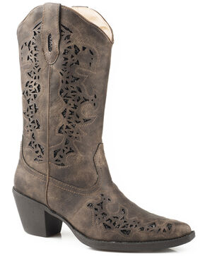 Roper Women's Brown Alisa Metallic Inlay Boots - Pointed Toe, Brown, hi-res