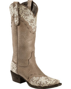 Lane Jeni Lace Embroidered Cowgirl Boots - Snip Toe, , hi-res