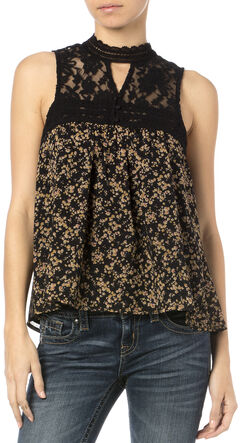 Miss Me Women's Victoria Floral Lace Sleeveless Top, Black, hi-res