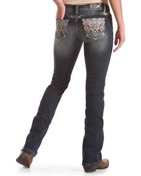 Grace in LA Women's Medium Wash Embroidered Low Rise Boot Cut Jeans, Blue, hi-res