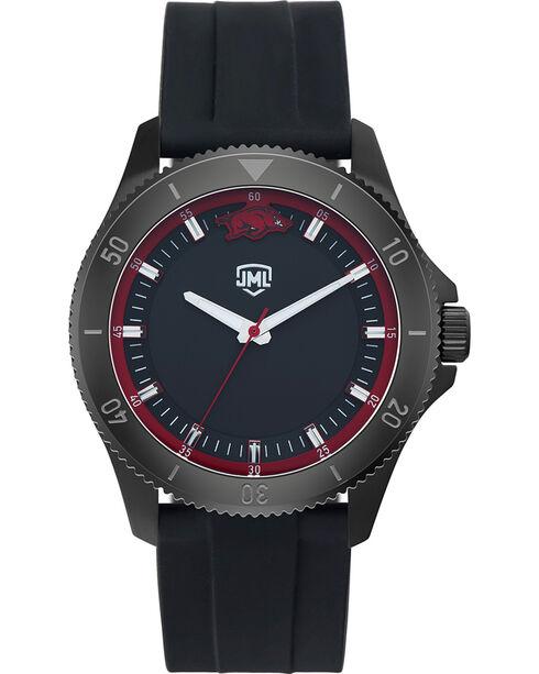 Jack Mason Men's Arkansas Blackout Silicone Watch , Black, hi-res