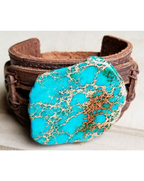 Jewelry Junkie Women's Turquoise Leather Wide Cuff , Turquoise, hi-res