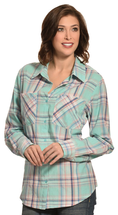 New Direction Sport Women's Pastel Plaid Two Pocket Western Shirt , Plaid, hi-res