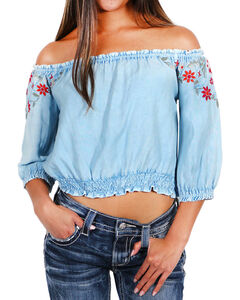 Tramp Women's Embroidered Off The Shoulder Top, Light Blue, hi-res