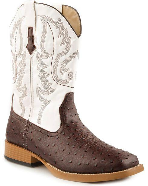 Roper Faux Leather Ostrich Print Cowboy Boots - Square Toe, Brown, hi-res