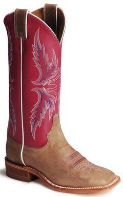 Justin Bent Rail Hot Pink Cowgirl Boots - Square Toe, , hi-res