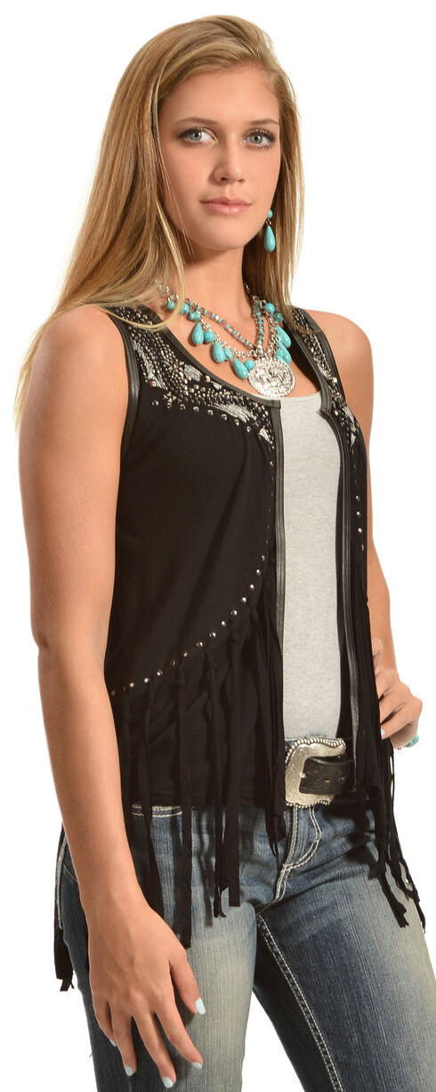 Powder River Outfitters Women's Fringed Vest, Black, hi-res