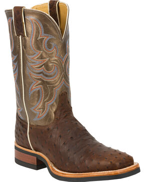 Justin Full Quill Ostrich Bronze Florention Cowboy Boots - Square Toe, Antique Saddle, hi-res