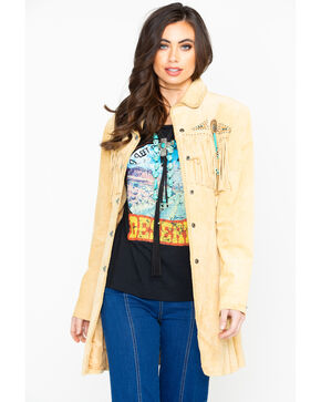 Scully Beaded Fringe Coat, Tan, hi-res