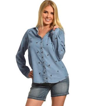 New Direction Sport Women's Horse Print Shirt, Indigo, hi-res