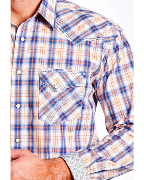 Panhandle Slim Men's Rough Stock Rockland Vintage Ombre Plaid Shirt , Royal Blue, hi-res