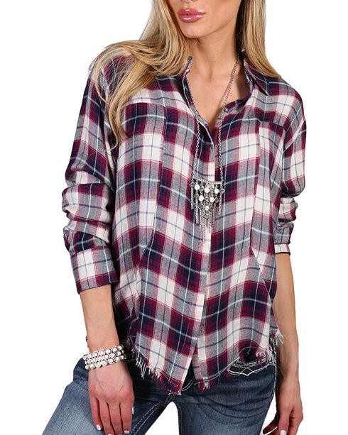 Signorelli Women's Wine Frayed Hem Long Sleeve Shirt , Multi, hi-res
