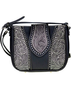 Trinity Ranch Women's Genuine Tooled Leather Cross Body Purse , Black, hi-res