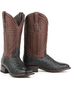 Stetson Men's Black Full Ostrich Western Boots - Square Toe , Black, hi-res