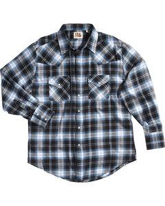Ely Cattleman Men's Blue Western Flannel Shirt - Tall , Blue, hi-res