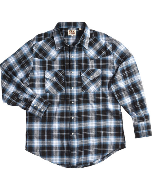 Ely Cattleman Men's Blue Western Flannel Shirt - Tall , , hi-res