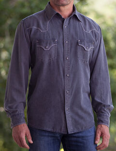 Ryan Michael Men's Black Sand Wash Silk Cotton CanvasShirt, , hi-res