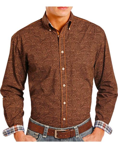 Panhandle Men's Paisley Button Down Long Sleeve Shirt, Chocolate, hi-res