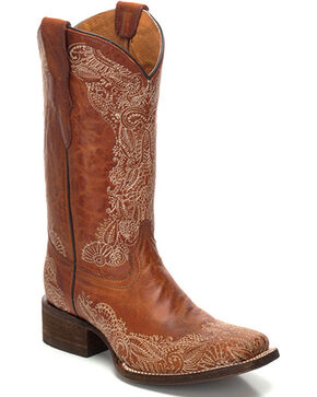 Corral Women's Distressed Leather Cowgirl Boots - Square Toe , Honey, hi-res