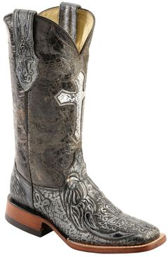 Ferrini Embossed Cross Cowgirl Boots - Wide Square Toe, , hi-res