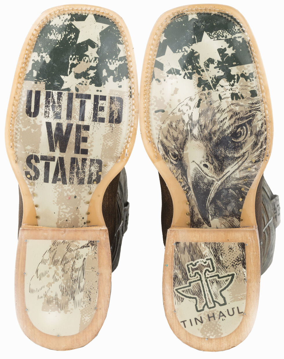 Tin Haul Sergeant at Arms Screaming Eagle Cowboy Boots - Square Toe , Brown, hi-res