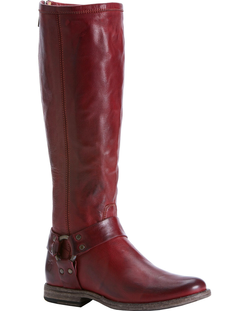 Frye Women's Phillip Harness Riding Boots - Round Toe, Red, hi-res