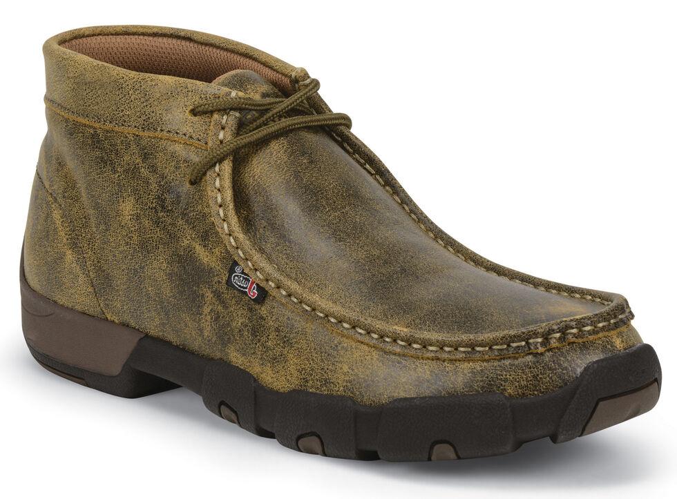 Justin Men's Waxy Tan Bomber Driver Moc Shoes , Tan, hi-res