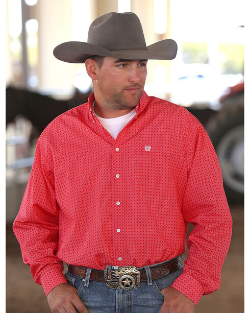 Cinch Men's Red Printed Plain Weave Long Sleeve Button Down Shirt - Big & Tall, Red, hi-res