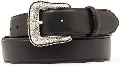 Black Leather Belt, Black, hi-res