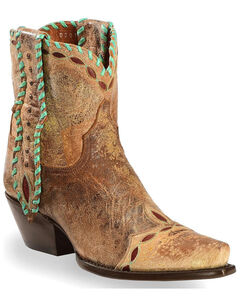 Dan Post Women's Tan with Turquoise Mule Ear Ankle Boots - Snip Toe, Tan, hi-res