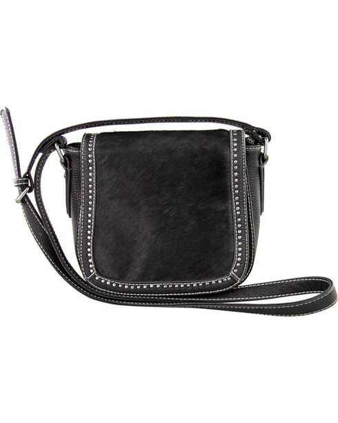 Trinity Ranch Women's Black Genuine Hair-On Saddle Bag , Black, hi-res