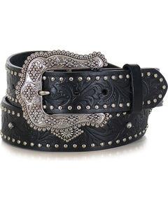 Shyanne Women's Black Filigree and Stud Leather Belt , Black, hi-res