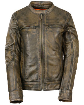 Milwaukee Leather Women's Brown Distressed Vented Scooter Jacket - 5X, Black/tan, hi-res