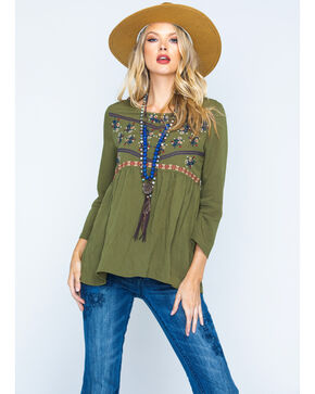 Polagram Women's Olive Embroidered Quarter Sleeve Top , Olive, hi-res