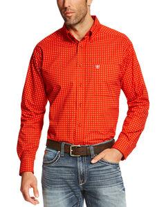 Ariat Men's Orange Shasta Long Sleeve Western Shirt , Orange, hi-res