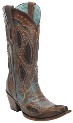 Corral Brown Gnarly Fish Studded Cowboy Boots - Snip Toe , , hi-res