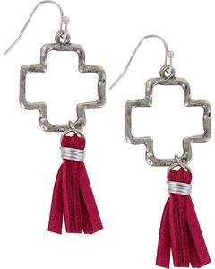 Shyanne® Women's Cross Cutout Tassel Earrings, Silver, hi-res