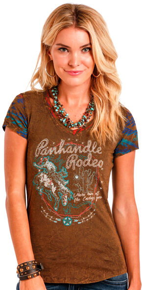 Panhandle Slim Women's Brown Ombre Aztec Print Back Tee , Brown, hi-res