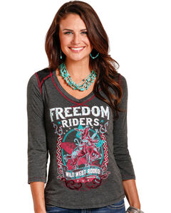 Panhandle White Label Cowgirl Women's Freedom Riders Graphic Tee, Black, hi-res