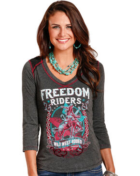 Rock & Roll Cowgirl Women's Freedom Riders Graphic Tee, Black, hi-res