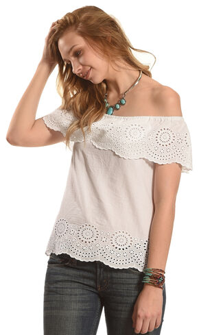 Derek Heart Women's Short Sleeve Off- the-Shoulder Top with Scalloped Hem, White, hi-res