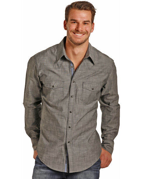 Rock & Roll Cowboy Men's Long Sleeve Striated Solid Chambray Snap Shirt, Indigo, hi-res