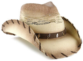 Cody James Saddle Straw Cowboy Hat, Brown, hi-res