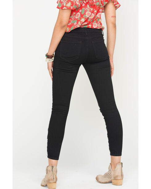 Miss Me Women's Black Lace Inset Jeans - Skinny , Black, hi-res